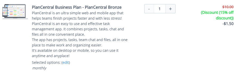 PlanCentral Business Plan 15% coupon code
