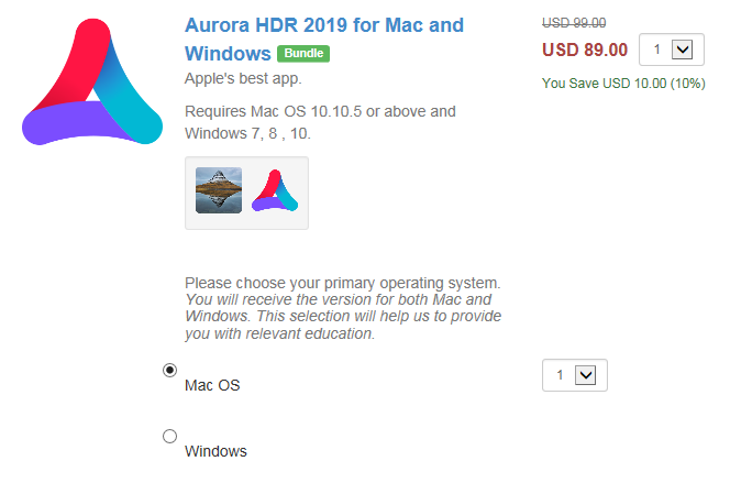 Aurora HDR 10% OFF coupon code